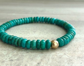 Genuine Turquoise Bracelet   Blue Green Semi Precious Stone Jewelry   Real Turquoise Jewelry with Silver or Gold Bead