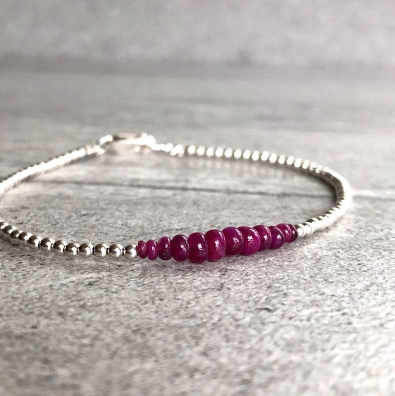 Genuine Ruby Bracelet  Real Ruby Jewelry  July Birthstone image 0