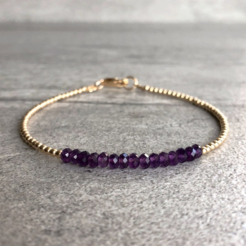 Purple Amethyst Bracelet  Tiny Silver or Gold Beads  Dainty image 0