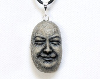 Happy gift, good vibes, zen and good karma jewelry: original sculpture on stone, unique and unusual gift for zen, yoga, nature lovers.