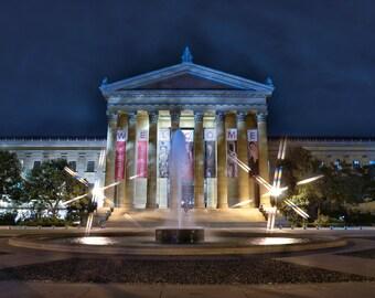Philadelphia Photography, Philadelphia Art Museum, Historic Landmark, Classic Architecture, Blue, Elegant Home Decor, Commercial Office Art
