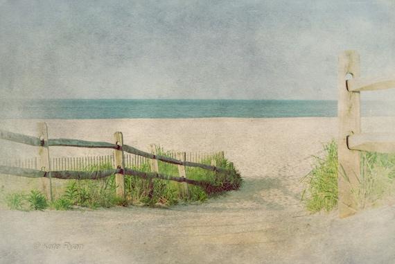 Weathered Fence Home Decor-Beach Cottage Wall Art Beach Fine Art Ocean View Sea Grass on a Beach Path- Pastel Color Seascape