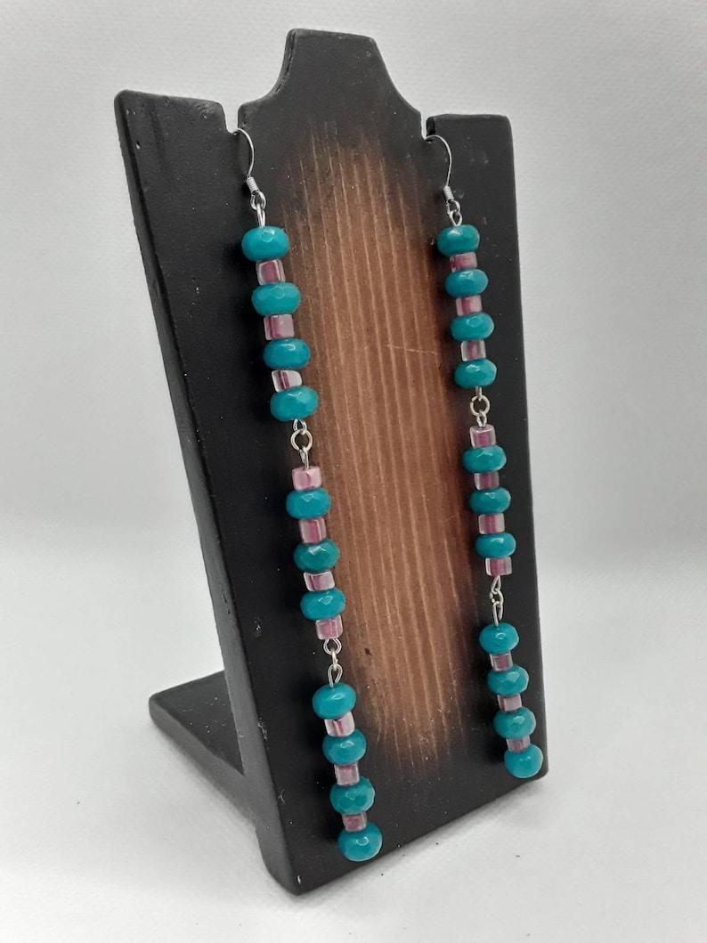 Blue and Pink Beaded Dangling Earrings Nickel Free Earrings Dangling Earrings Long Earrings Textured Earrings