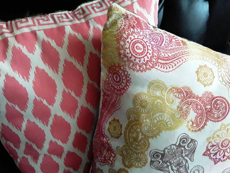 Set of 2 Decorative Throw Pillows Decorative Throw Pillow Set Home Decor Pink and White Throw Pillow Asian Elephant Throw Pillow