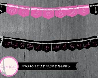 Personalized Printable Fashionista Banner Set! Birthday Banner, Pink, Black