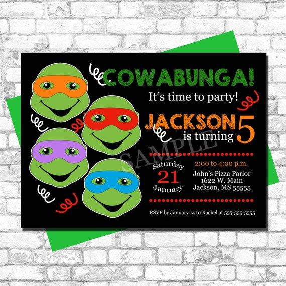 Printable teenage mutant ninja turtles birthday invitation etsy image 0 filmwisefo