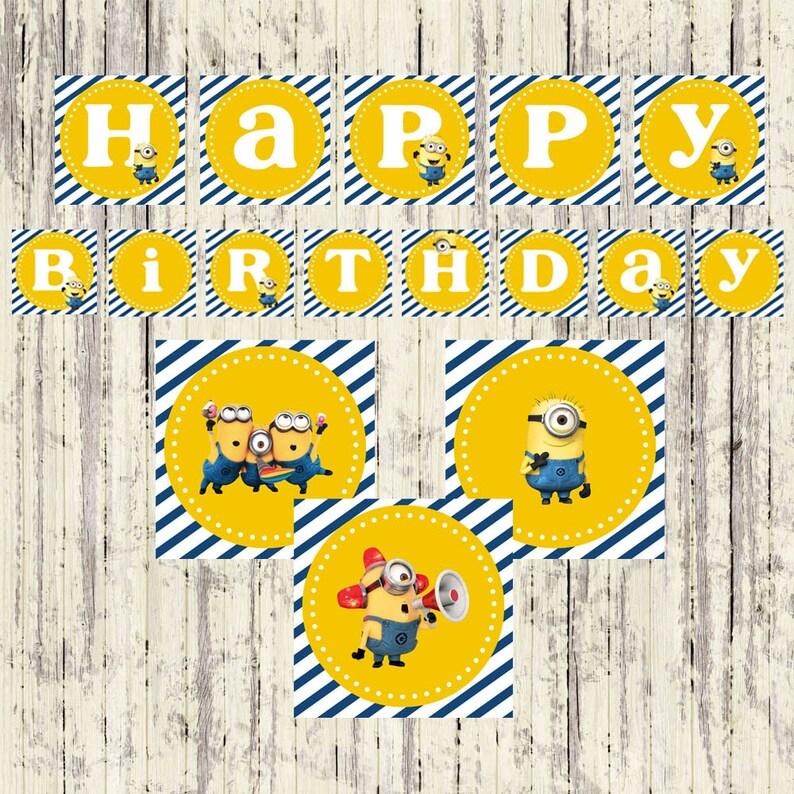 instant download minion birthday banner happy birthday  etsy