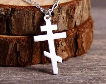 Orthodox Cross - Handcut 925 Sterling Silver Pendant, Necklace