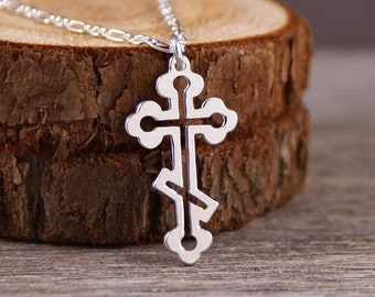 Orthodox Budded Cross - Handcut 925 Sterling Silver Pendant, Necklace