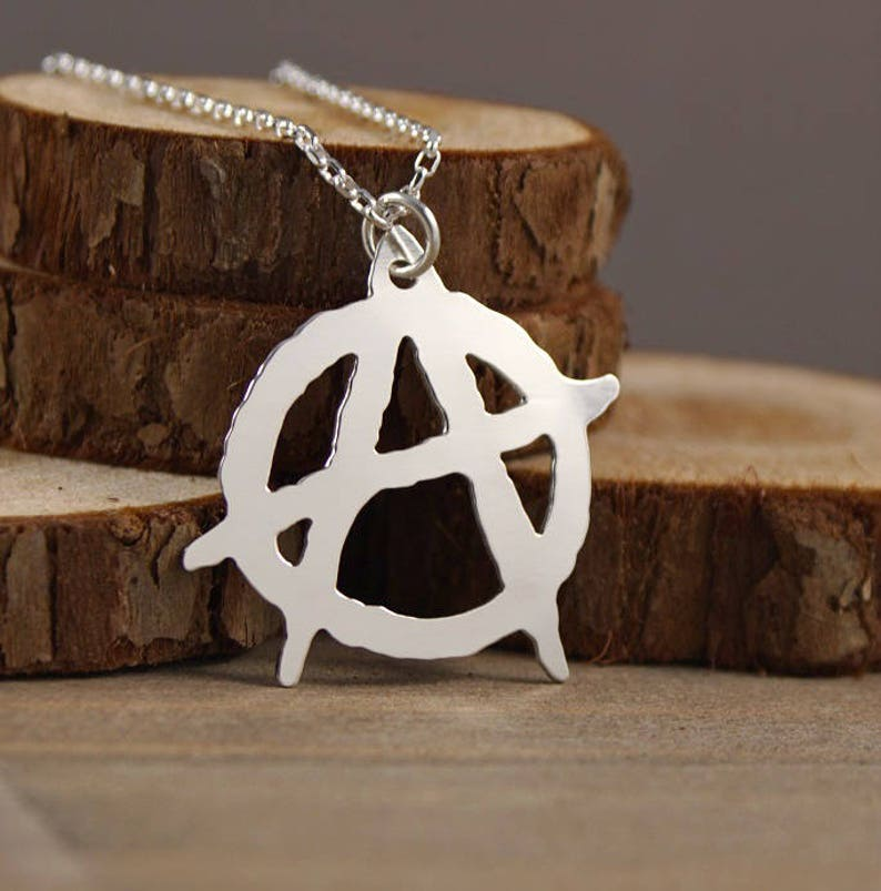 Anarchy  Large Hand Cut Sterling Silver Pendant Necklace image 0