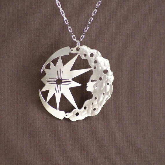 Sterling Silver Reflection Sun and Moon Solid Bead