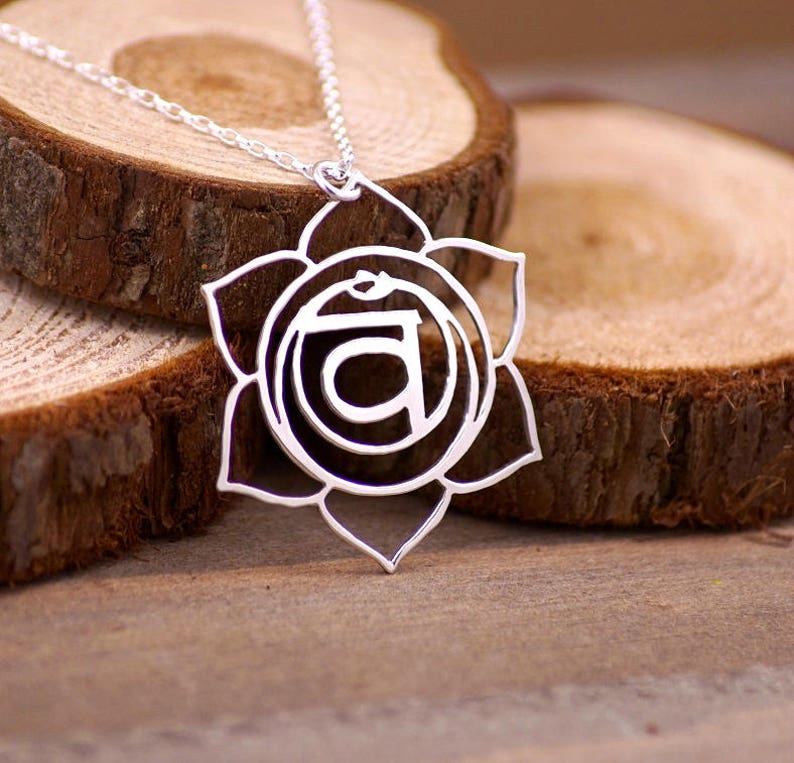 Sacral Chakra  Sterling Silver Hand Cut Pendant Necklace image 0