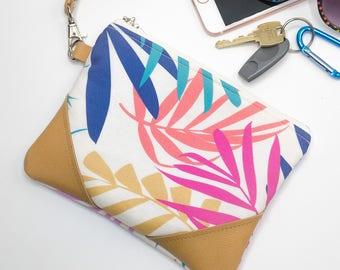 Palm Leaf Purse, Mothers Day Gift, Palm Leaf Bag, Tropical Print Bag, Zippered Wristlet Clutch Purse with Strap, Wristlet Bag, Small Purse