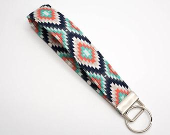 Key Lanyard, Key Wrist Strap, Key Fob Wristlet, Key Fob Keychain Wristlet, Colorful Keychain, Fabric Keychain, Mom Gift for Her, Women Gift