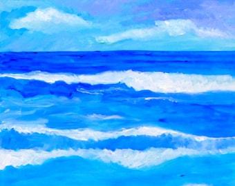 Ocean Blues, 24x18, beach painting, ocean & sky painting, abstract ocean art, beach decor, abstract beach art, ocean seascape, original art