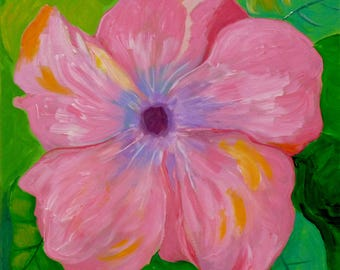 Innocence, 18x18, pink flower painting, floral artwork, original art, square art, Spring art, whimsical painting, pink and green art