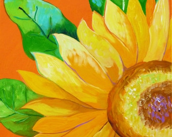 Sunflower Petals 3, 18x18, original painting, sunflower painting, sunflower art artwork, flower painting, floral art, orange yellow painting