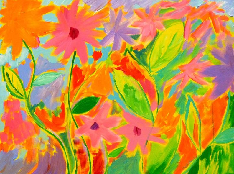 ff59c2612cd5db Spring Mirth 3 18x24 original painting whimsical flower   Etsy