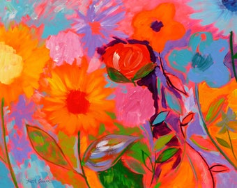 In the Heat of the Moment, 22x28, Flower painting Floral art Original art Flower garden art Spring art Abstract painting art Colorful art