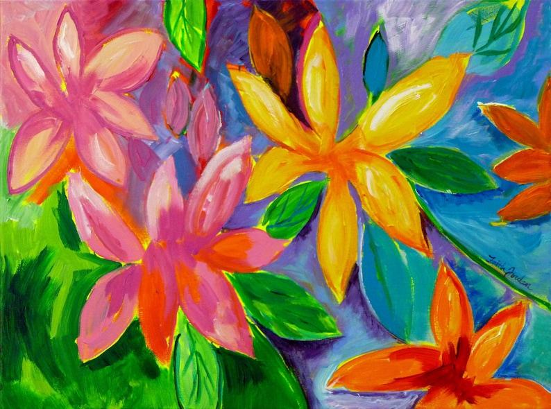 b7460d94fa0bd2 Tropical Florida 18x24 original painting whimsical flower   Etsy