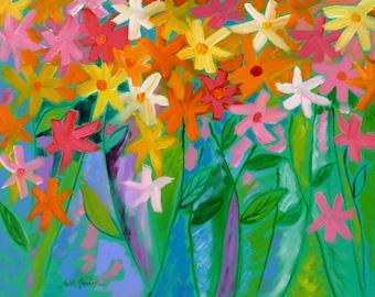 Live Life to the Fullest, 22x28, flower painting, floral art, original art, flower garden art, Spring art, whimsical painting, colorful art