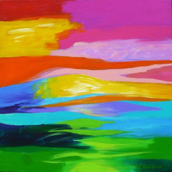 Inner Landscape 24x24 Inspirational Art Abstract Landscape Etsy