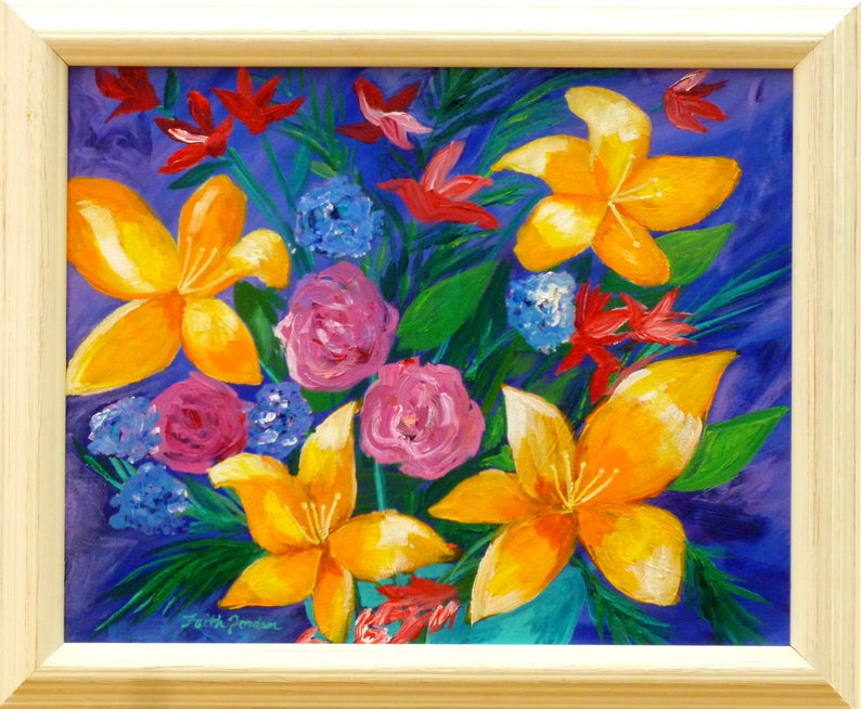 09dd666cf360dc Framed painting lily painting flower painting floral art   Etsy