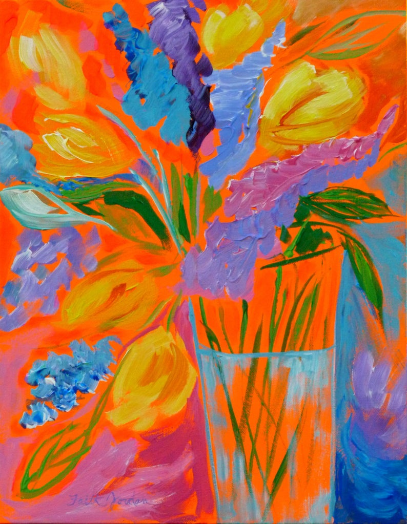 99c2a5398f1027 My Cup Runneth Over 18x14 original art flower painting   Etsy