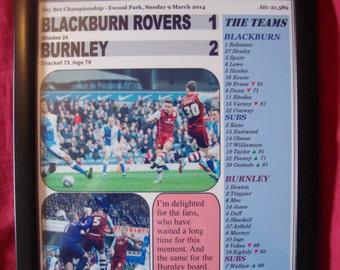 Blackburn Rovers 1 Burnley 2-2014 - souvenirs imprimés