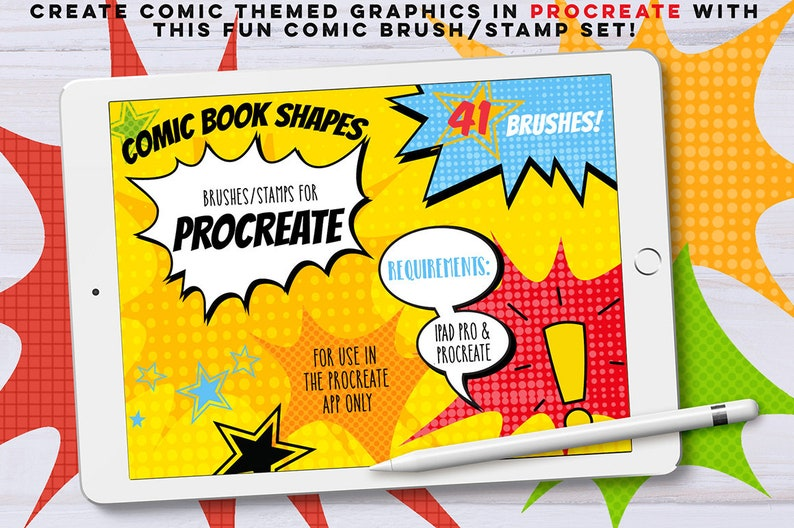 Procreate Comic Book Brushes/Stamps, iPad Pro, INSTANT DOWNLOAD, Super  Hero, comic strip, Scrapbooking, CU, Party, Lettering, Shapes