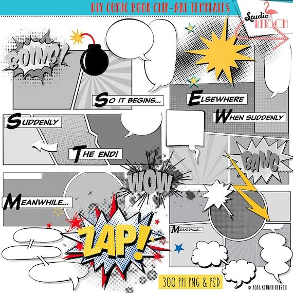Comic-Buch-ClipArt Vorlagen Comic-Strip Superheld Cartoon | Etsy