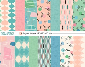 Retro 1950's Digital Paper Set, CU, backgrounds, stationery, digital scrapbooking, card-making, Kitschy, INSTANT DOWNLOAD, Fifties, 50's