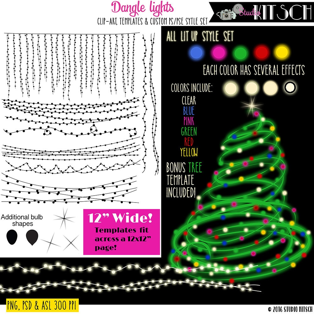 Christmas Lights Clip Art Templates Christmas Graphics Etsy