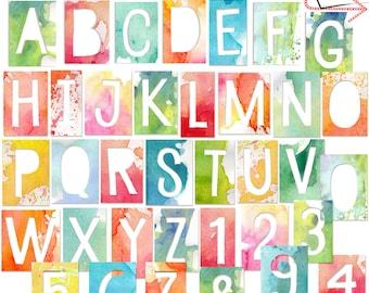 Painted Cutout Alphabet, Digital Clip-Art, png , alphabet, INSTANT DOWNLOAD, CU, Watercolor alpha, Die-Cut, Numbers, Watercolor Alphabet