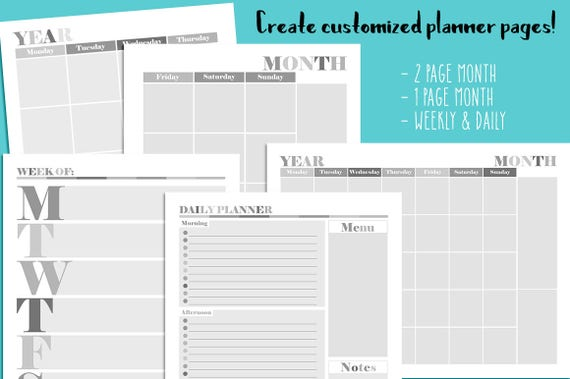Editable Planner Pages Templates Printable 8.5x11 CU   Etsy