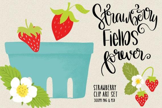 Erdbeere Felder Immer Von Hand Gezeichnet Sprüche Cliparts Png Psd Sofortiger Download Cu Kartengestaltung Frühling Korb Erdbeeren Blumen
