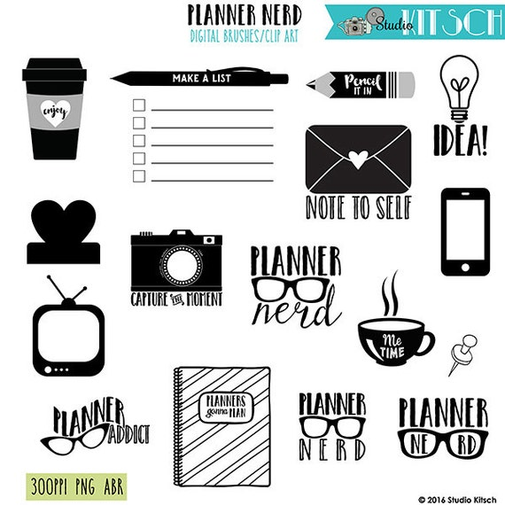Planner Nerd digital brushes + PNG,  abr, digital stamps, clip art, INSTANT  DOWNLOAD, photoshop brushes, phone, digital planner, stickers