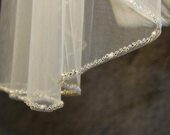 1T beaded veil, minimalist new design high quality bridal veil, crystal veil, wedding veil, white, ivory beads beaded veil