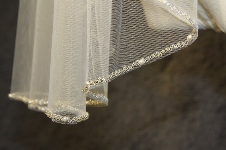 1T beaded veil minimalist new design high quality bridal image 0