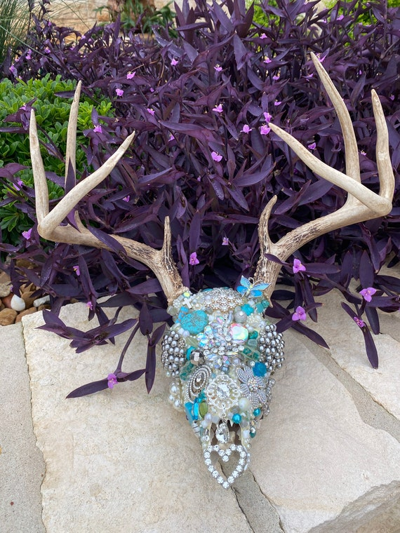 white and gold with rhinestones Hand made roe deer antlers in sky blue