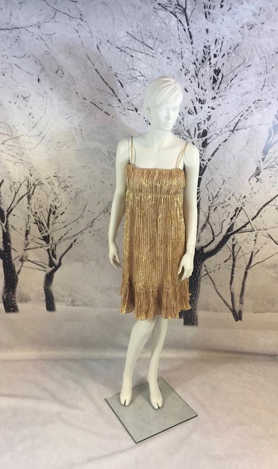 Sweet Golden Babydoll Lame Dress Pleated Pattern E