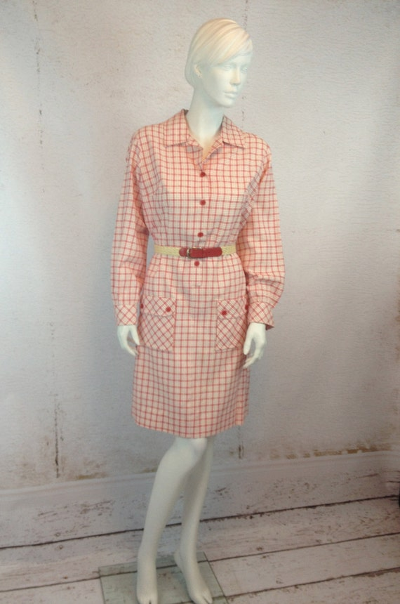 50s Seersucker Large Plaid Day Dress Country Miss