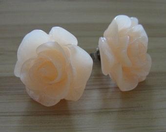 Large Translucent Orange Flower Earrings