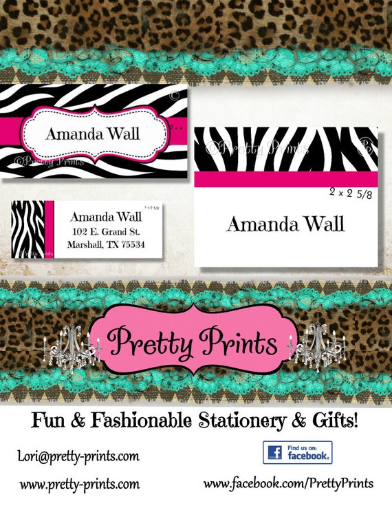 Zebra print labels school labels zebra pink animal print personalized stickers labels custom labels personalized labels from prettyprintstx