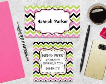 Calling cards etsy gift tags chevron gift tags favor tags green pink tags reheart Gallery