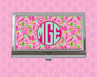 Cute business card etsy business card case monogram business card holder personalized card holder personalized gift monogram gift lilly pulitzer inspired colourmoves