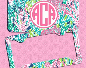 License plate frame etsy monogrammed license plate lily pulitzer inspired car coastermonogrammed license plate framelilly inspired monogram lilly car accessories solutioingenieria Images