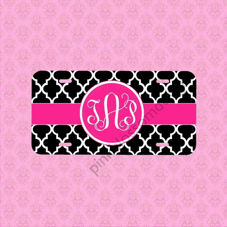 Personalized Front License Plates >> Personalized Front License Plate Monogram Black Pink Trellis Etsy