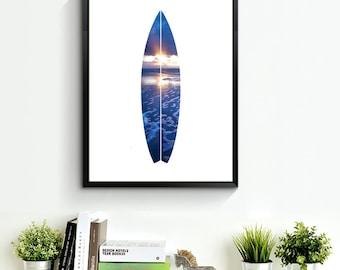 Ocean Waves Art, Surfboard Wall Print, Beach Wall Print, Ocean Wall Art, Ocean Wall Print, Surfboard Wall Art, Turquoise Summer Print *122*