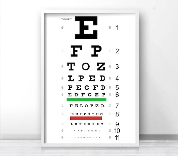 Eye Chart Poster Printable Black And White Eye Chart Print Etsy